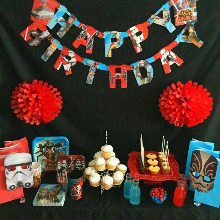 Yummy dessert table for Star Wars birthday party