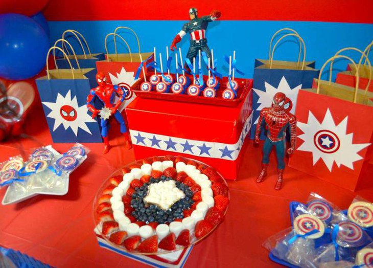 Yummy food table for Spiderman birthday party