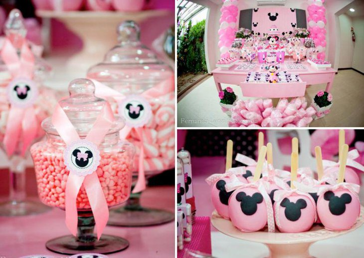 Yummy looking Minnie Mouse candy buffet table with pink decor ideas
